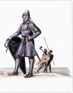 Norman Knight (foreground) with typical mixed infantry (background) dawning both chainmail and typically Gaelic woolen armour.